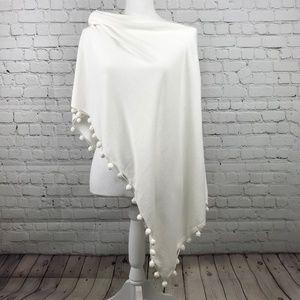 Cynthia Rowley Asymmetrical White Knit Wrap Poncho